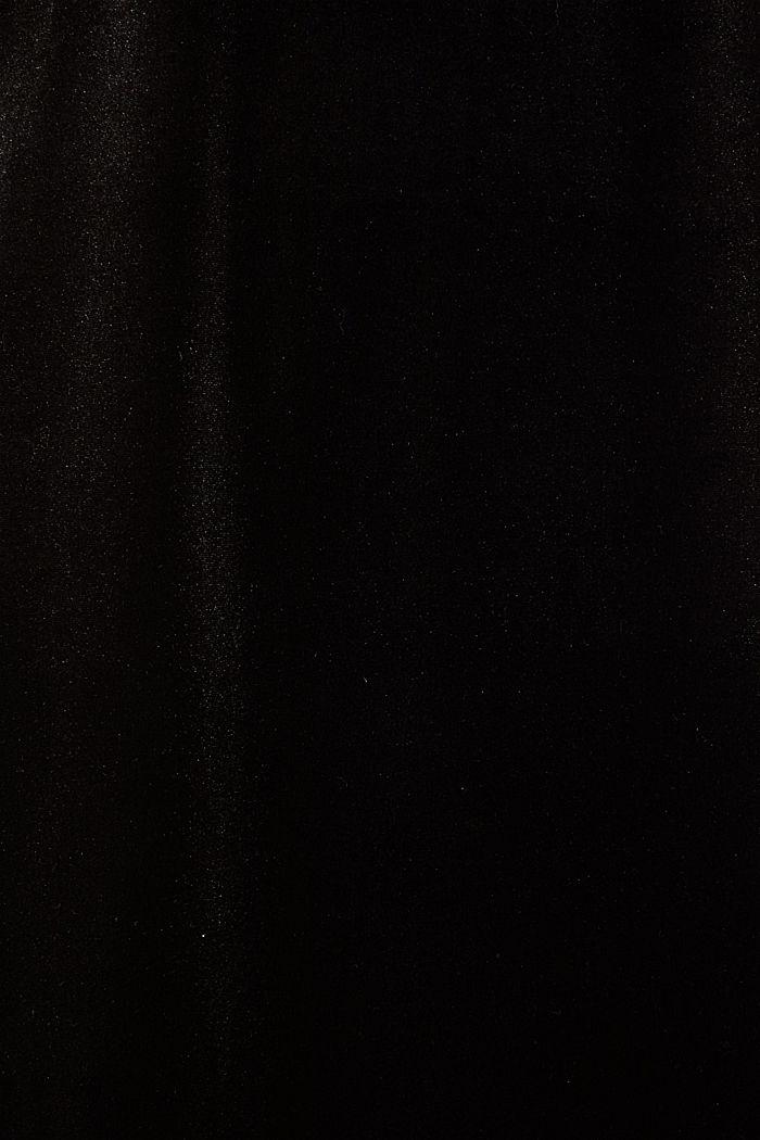 Samt-Kleid mit Stretch und V-Ausschnitt, BLACK, detail image number 4