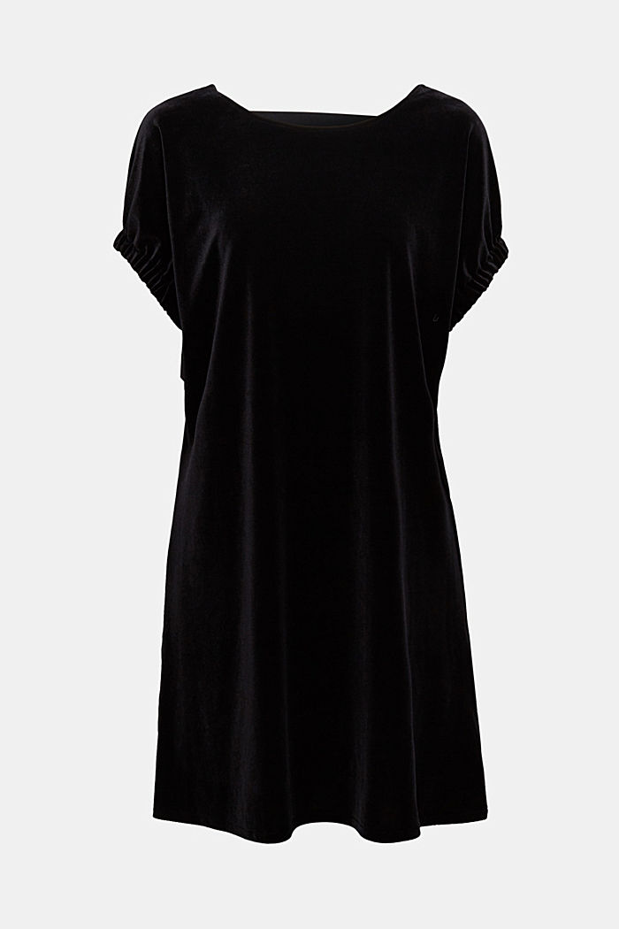 Velvet dress with stretch and a V-neckline