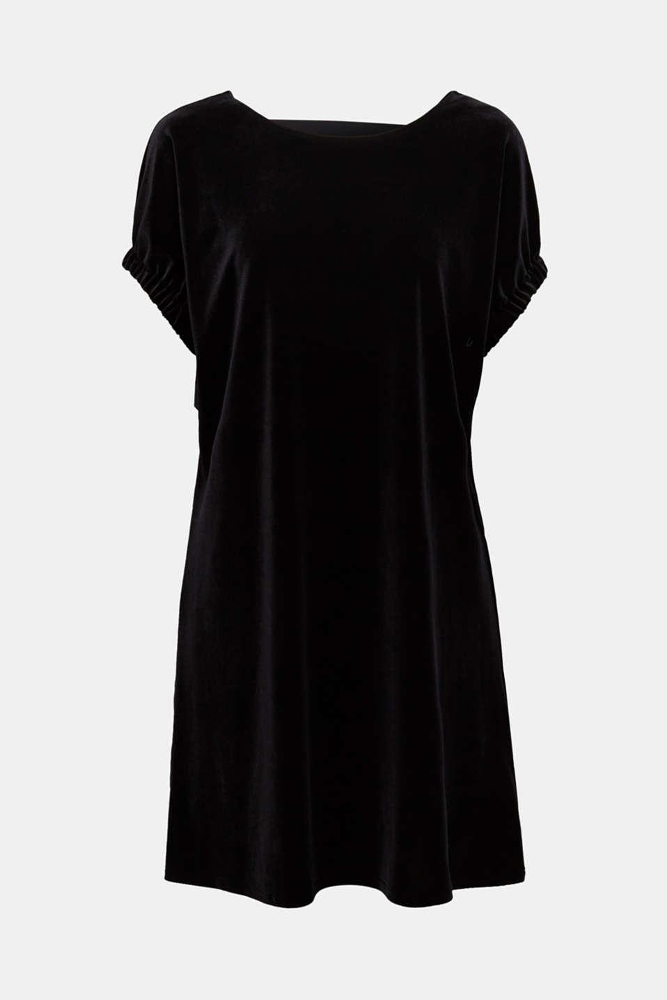 Velvet dress with stretch and a V-neckline, BLACK, detail image number 6