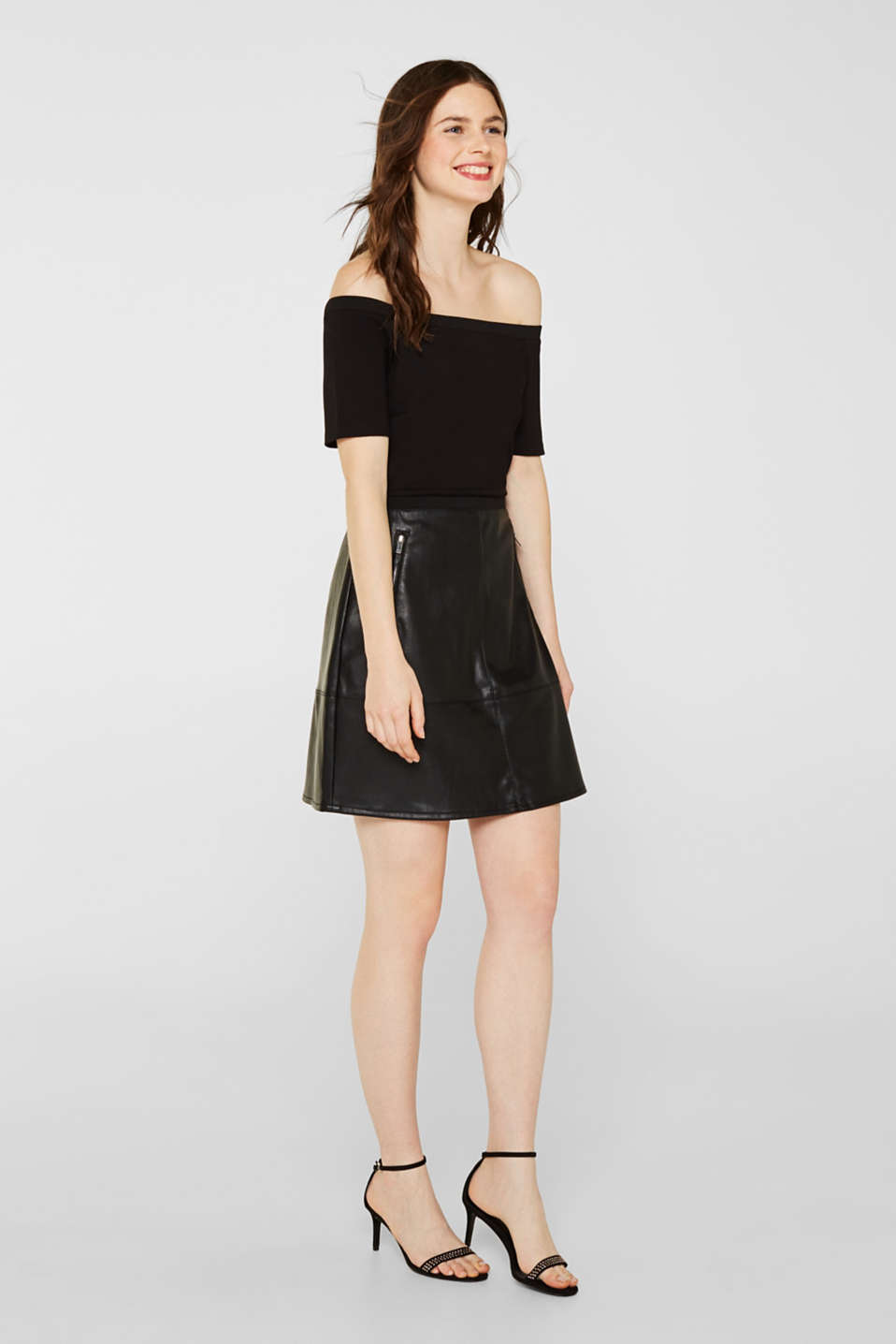 Imitation leather dress in a mix of materials, BLACK, detail image number 0