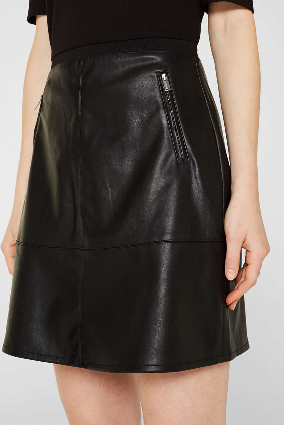 Imitation leather dress in a mix of materials, BLACK, detail image number 2