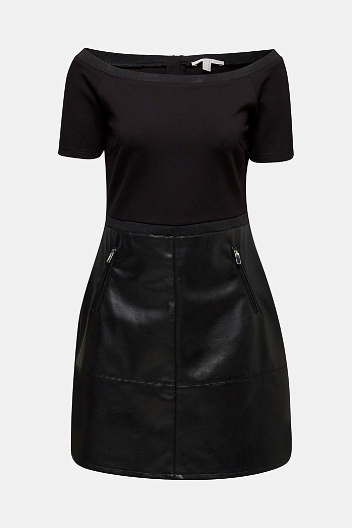 Imitation leather dress in a mix of materials