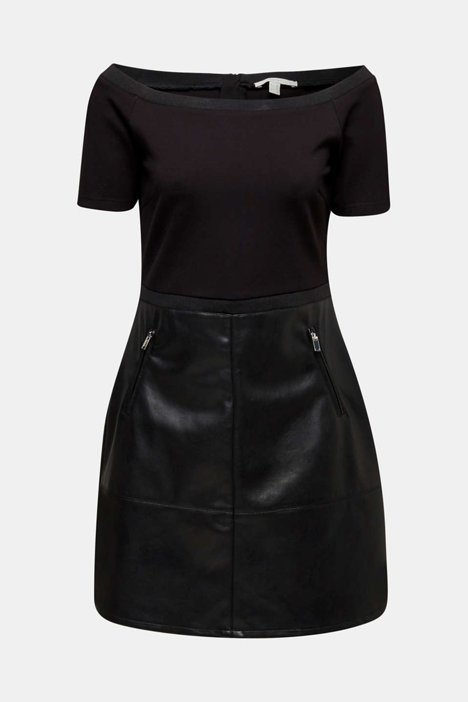 Imitation leather dress in a mix of materials, BLACK, detail image number 5