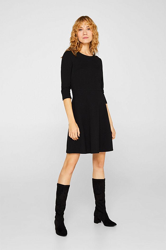 Stretchy, textured dress, BLACK, detail image number 1