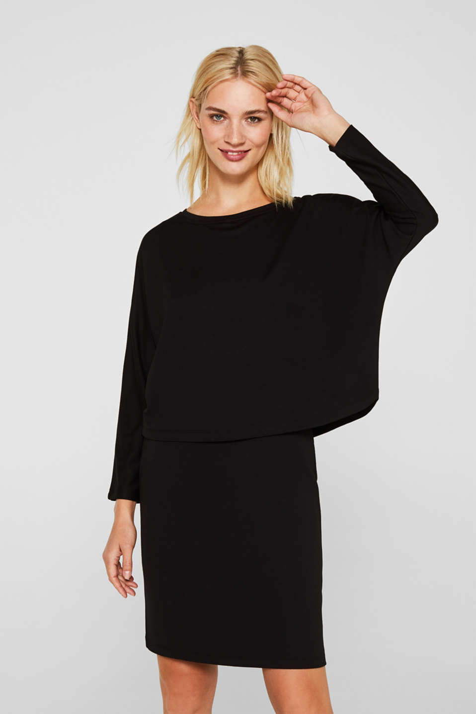 Esprit - Robe en jersey stretch au look superposé