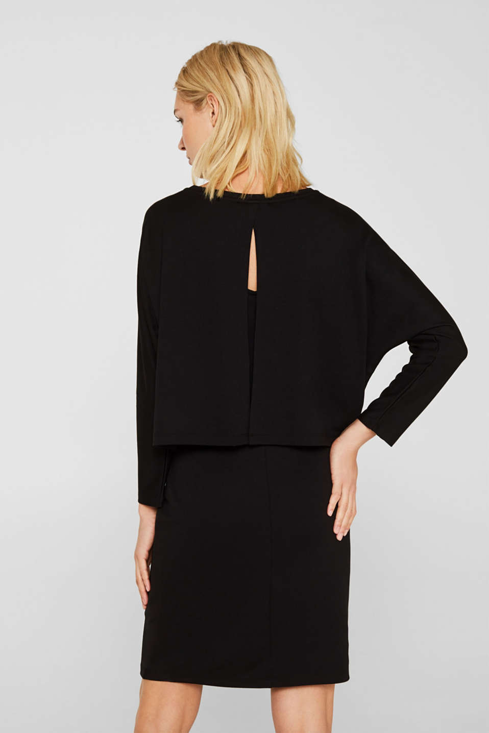 Stretch jersey dress in a layered look, BLACK, detail image number 2