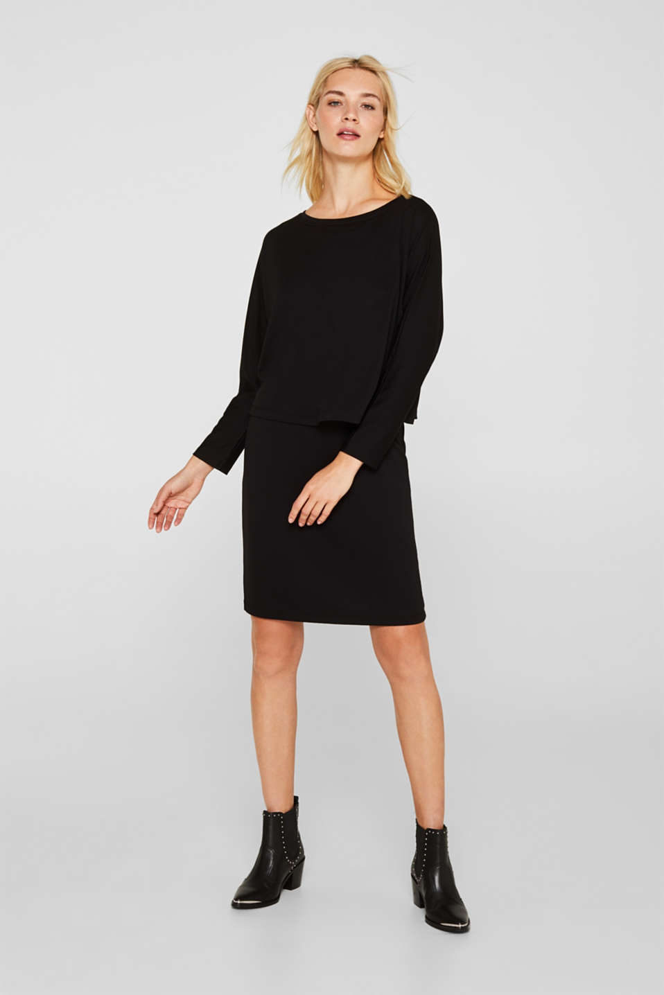 Stretch jersey dress in a layered look, BLACK, detail image number 1
