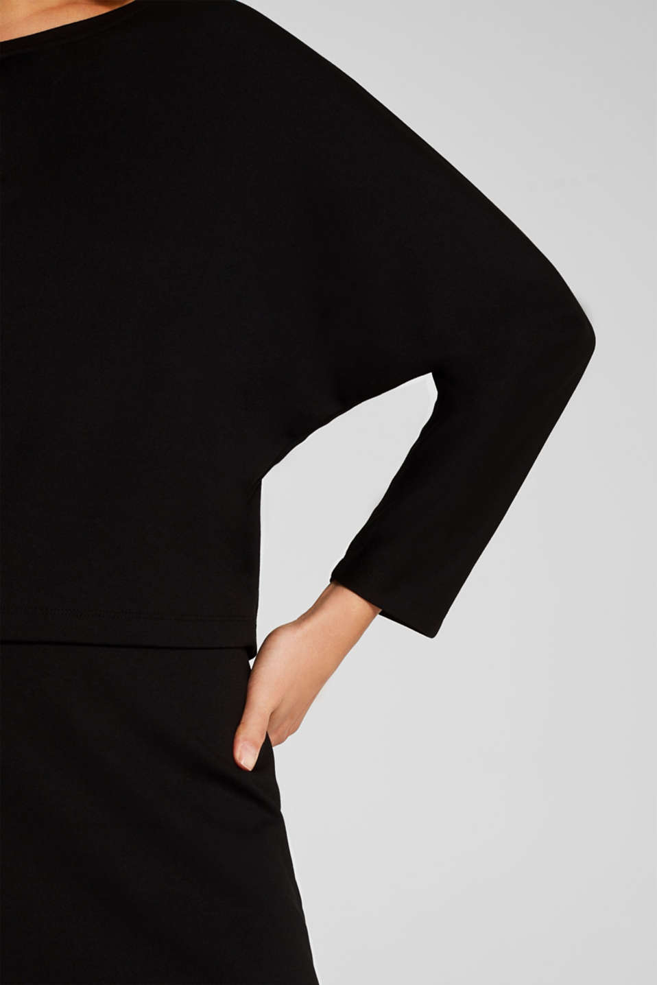 Stretch jersey dress in a layered look, BLACK, detail image number 3