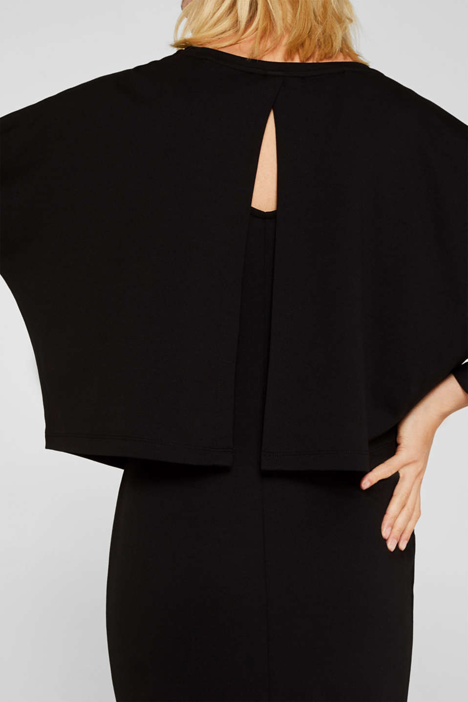 Stretch jersey dress in a layered look, BLACK, detail image number 4