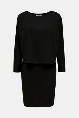 Stretch jersey dress in a layered look, BLACK, detail