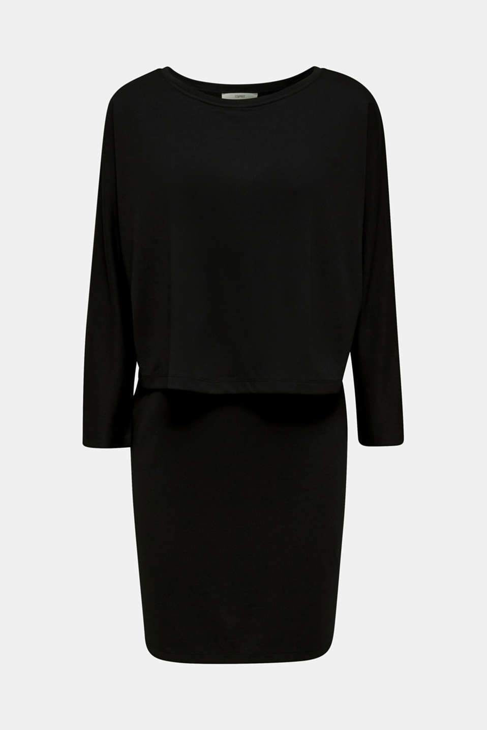 Stretch jersey dress in a layered look, BLACK, detail image number 5