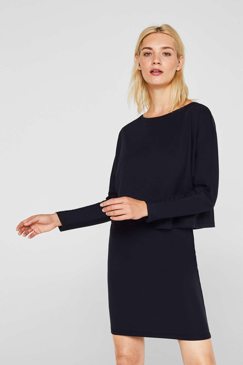 Esprit - Jersey-Stretch-Kleid im Layer-Look