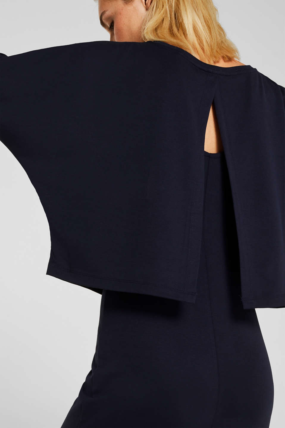 Stretch jersey dress in a layered look, NAVY, detail image number 2