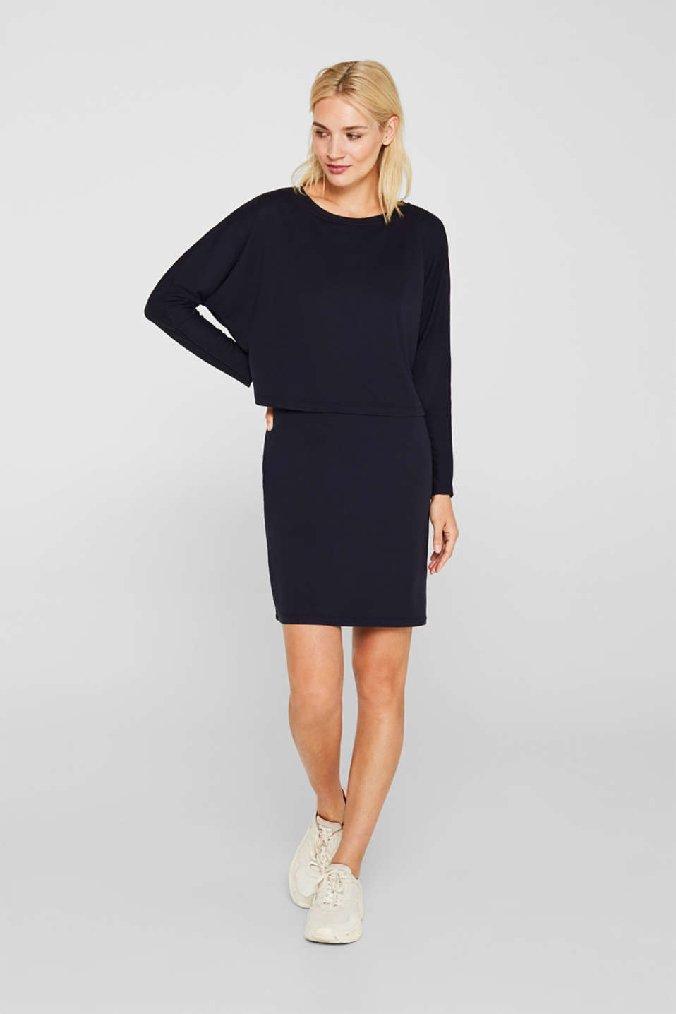 Stretch jersey dress in a layered look, NAVY, detail image number 1