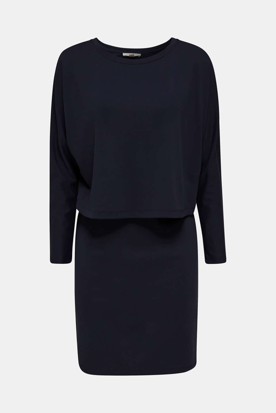 Stretch jersey dress in a layered look, NAVY, detail image number 5