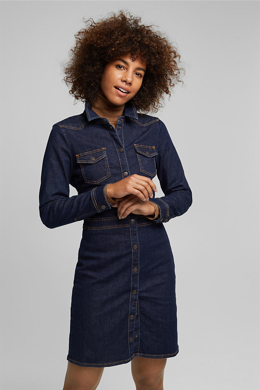 Abito camicia in denim scuro