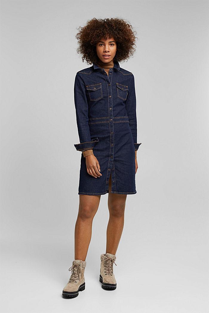 Dark denim shirt dress, BLUE RINSE, detail image number 1