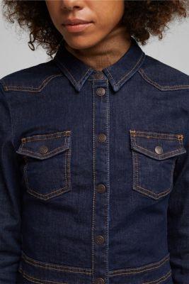 Dark denim shirt dress, BLUE RINSE, detail
