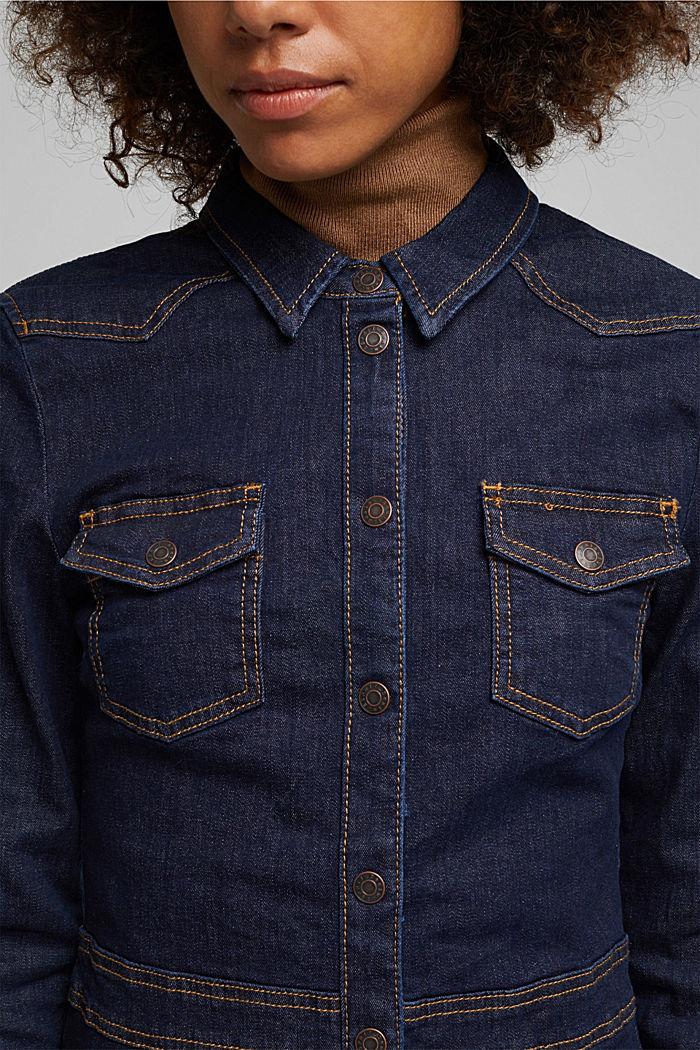 Dark denim shirt dress, BLUE RINSE, detail image number 3
