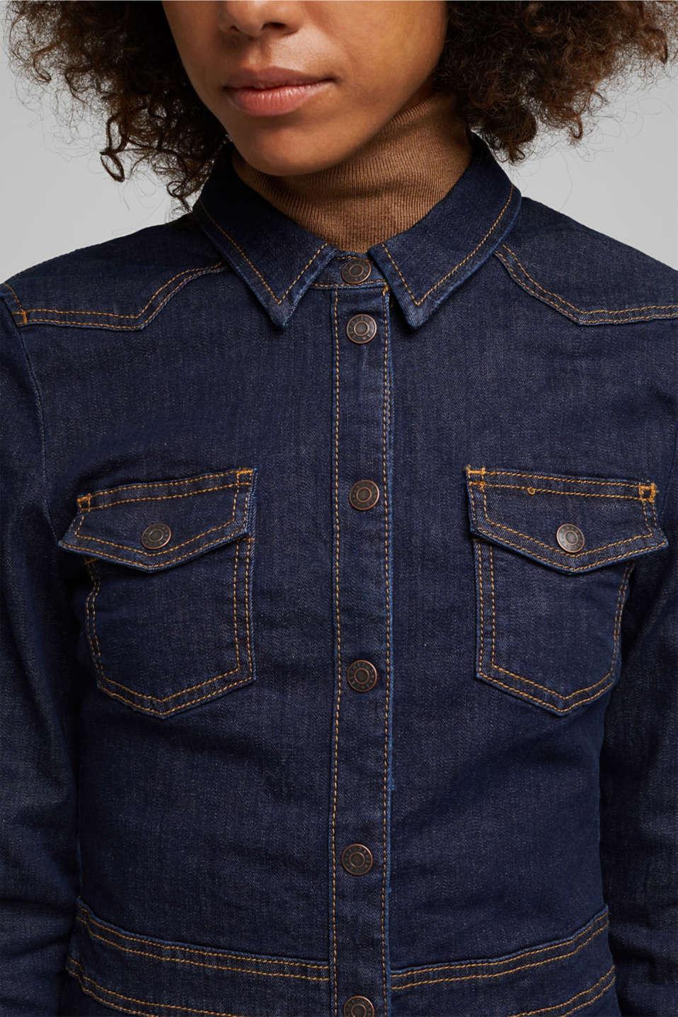 Dark denim shirt dress, BLUE RINSE, detail image number 0