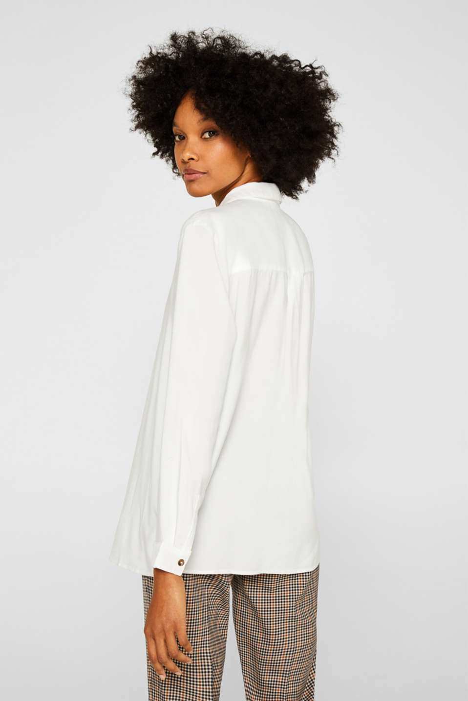 Slip-on blouse with an open collar, OFF WHITE, detail image number 3