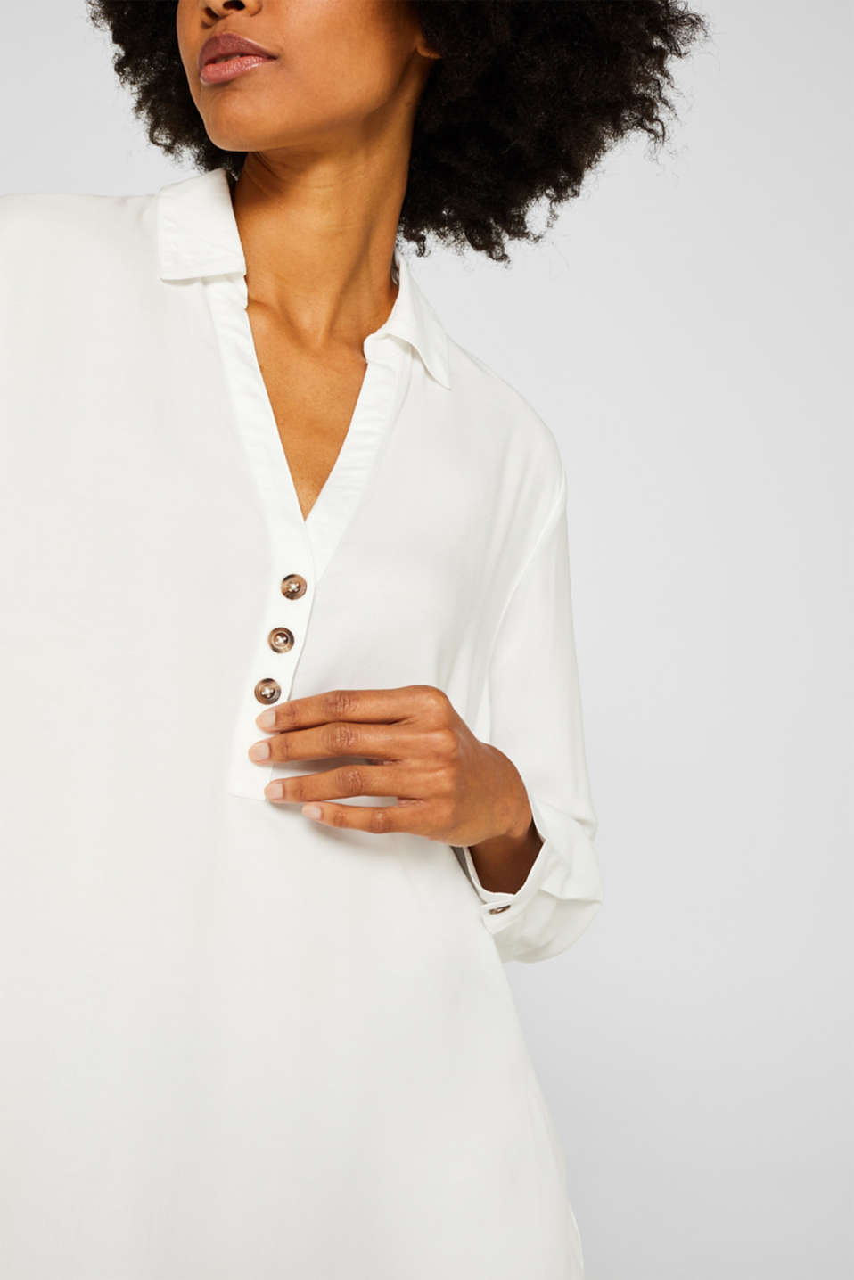Slip-on blouse with an open collar, OFF WHITE, detail image number 2