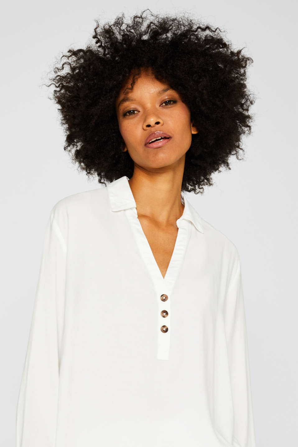 Slip-on blouse with an open collar, OFF WHITE, detail image number 5