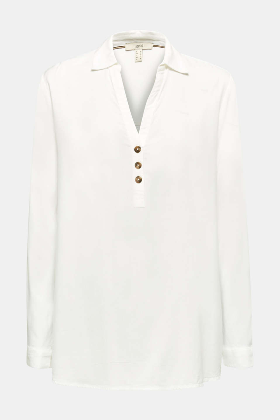 Slip-on blouse with an open collar, OFF WHITE, detail image number 6