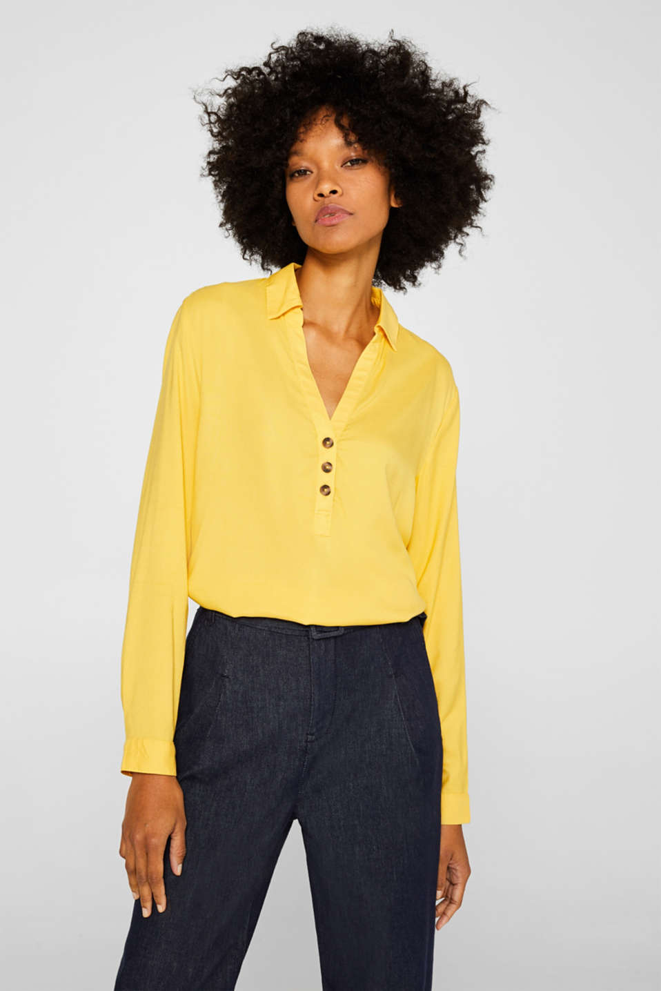 Slip-on blouse with an open collar, YELLOW, detail image number 0