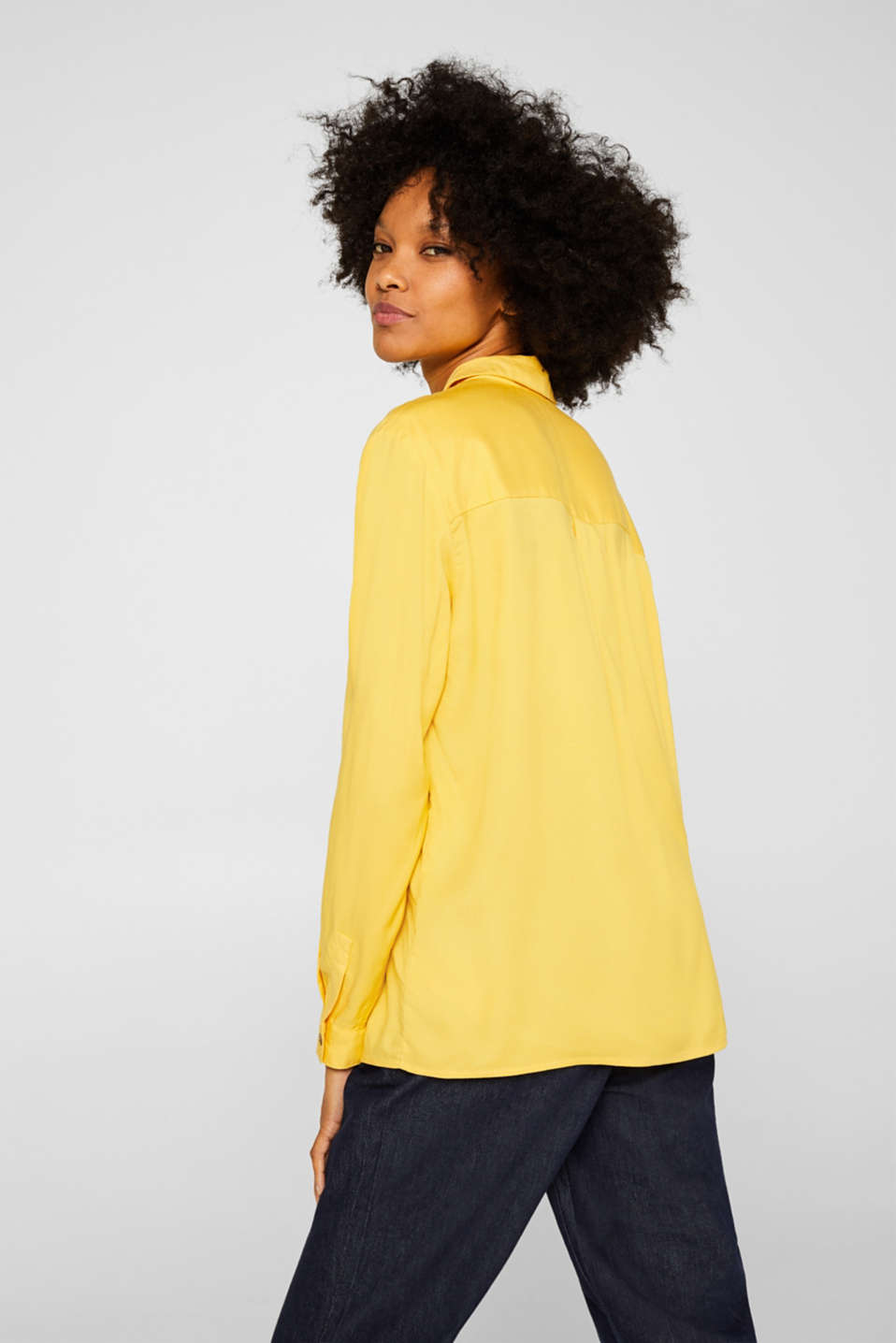 Slip-on blouse with an open collar, YELLOW, detail image number 3