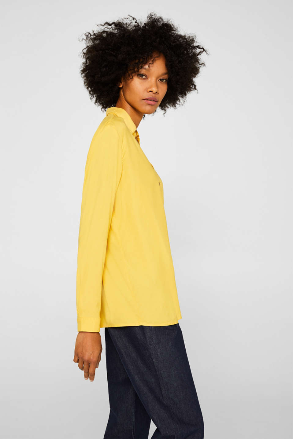 Slip-on blouse with an open collar, YELLOW, detail image number 5
