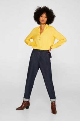 Slip-on blouse with an open collar, YELLOW, detail
