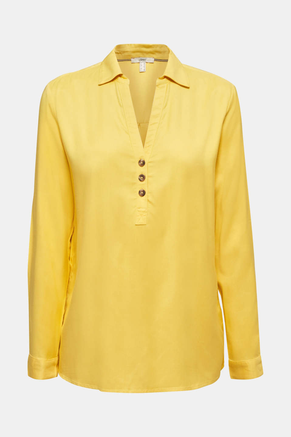 Slip-on blouse with an open collar, YELLOW, detail image number 6