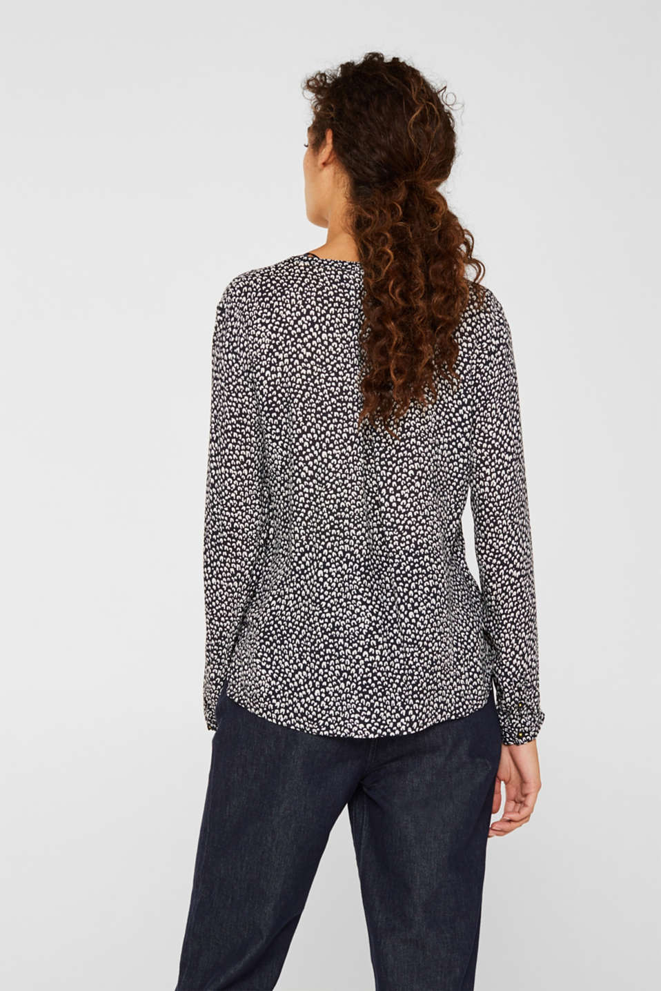 Delicate crêpe blouse with print, BLACK 3, detail image number 3