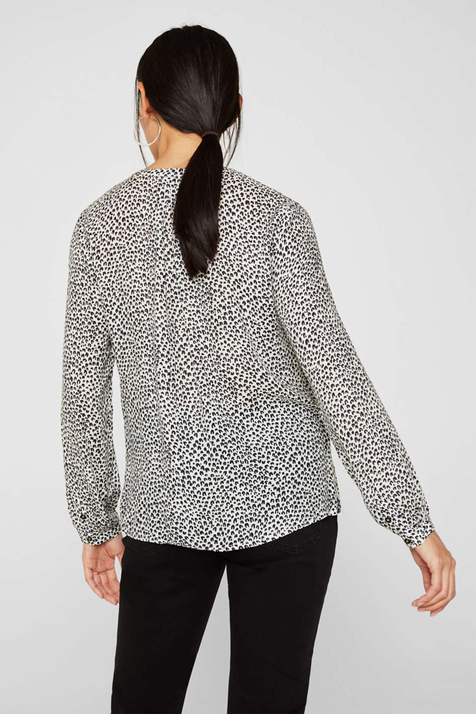 Delicate crêpe blouse with print, OFF WHITE 4, detail image number 3