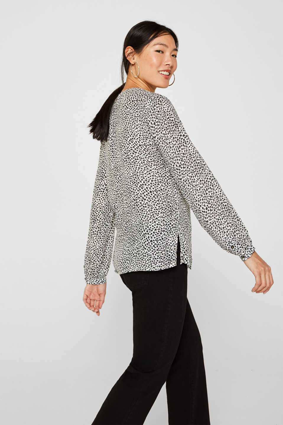Delicate crêpe blouse with print, OFF WHITE 4, detail image number 5