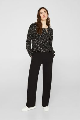 Print blouse with new neckline, BLACK, detail