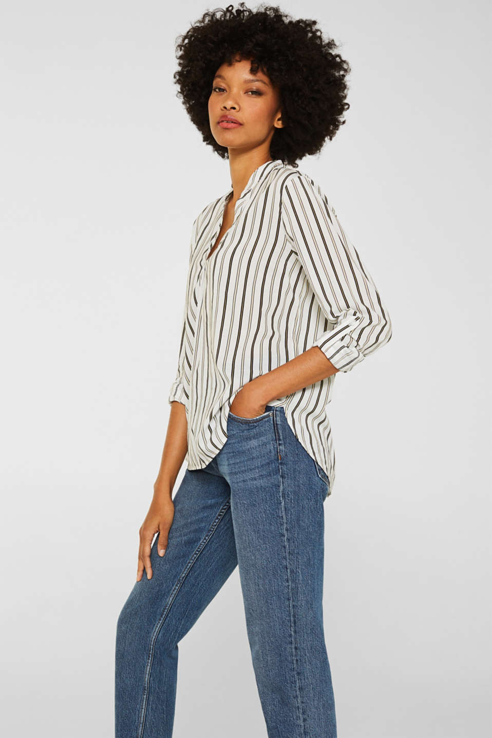 Slip-on blouse with stripes, OFF WHITE, detail image number 0