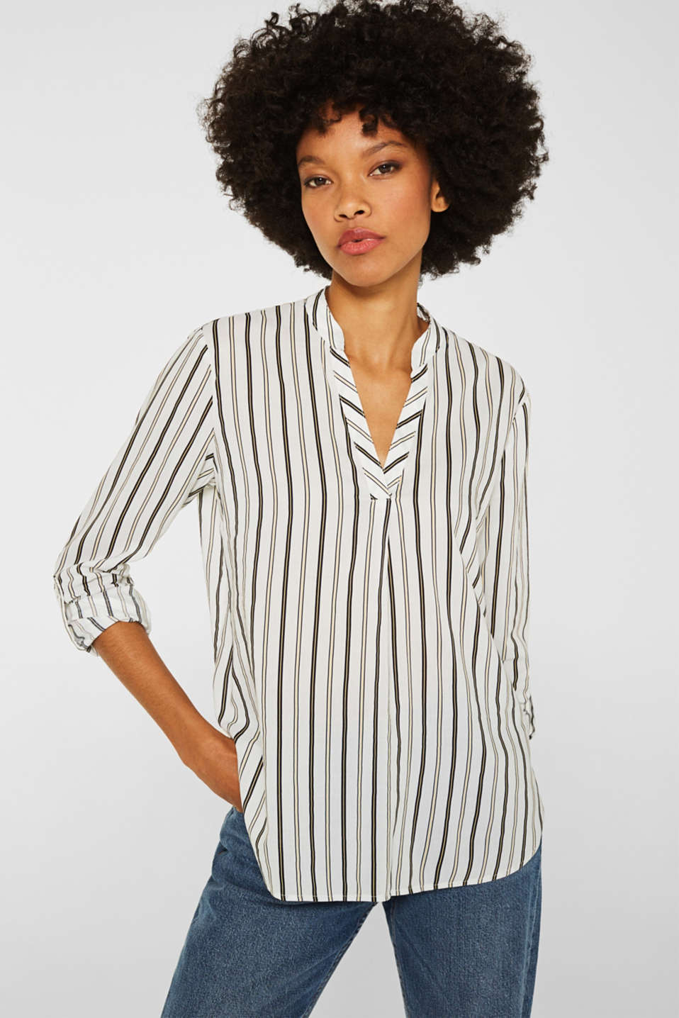 Slip-on blouse with stripes, OFF WHITE, detail image number 5