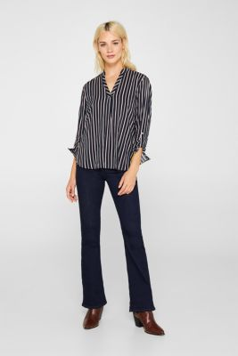 Slip-on blouse with stripes, NAVY, detail