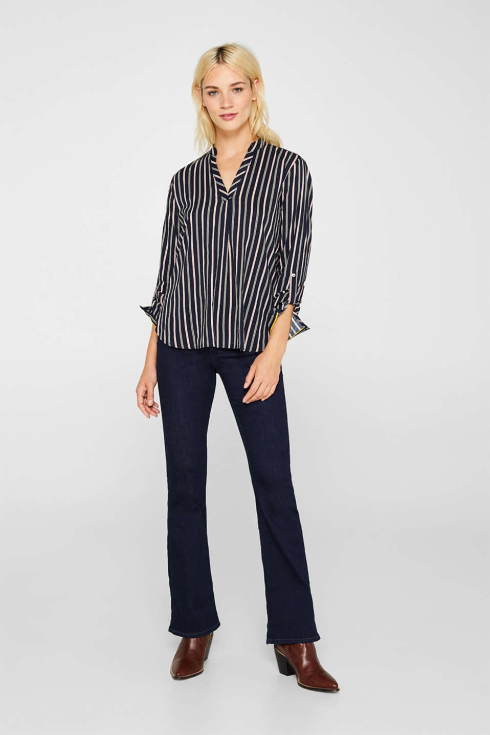 Slip-on blouse with stripes, NAVY, detail image number 1