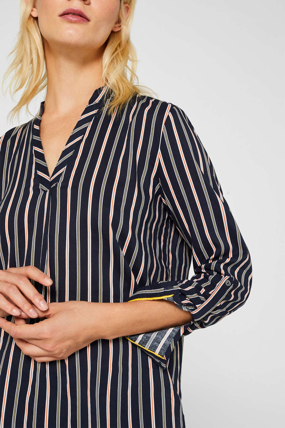 Slip-on blouse with stripes, NAVY, detail image number 2