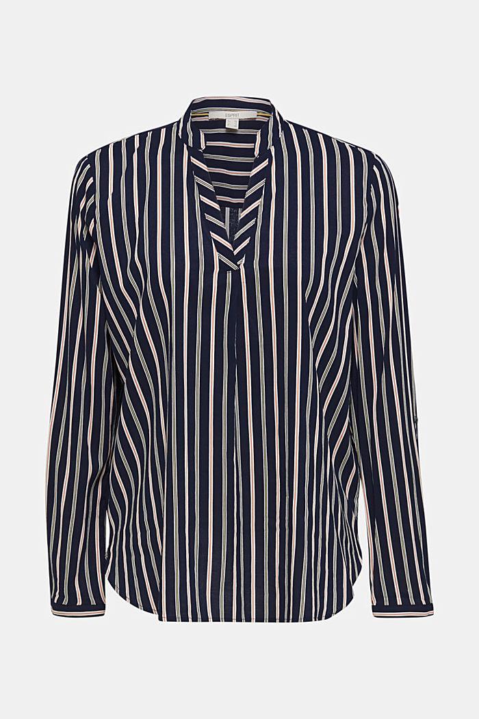 Bluse med striber, lige til at smutte i, NAVY, detail image number 0