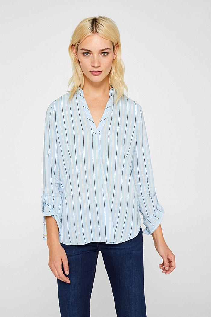 Slip-on blouse with stripes