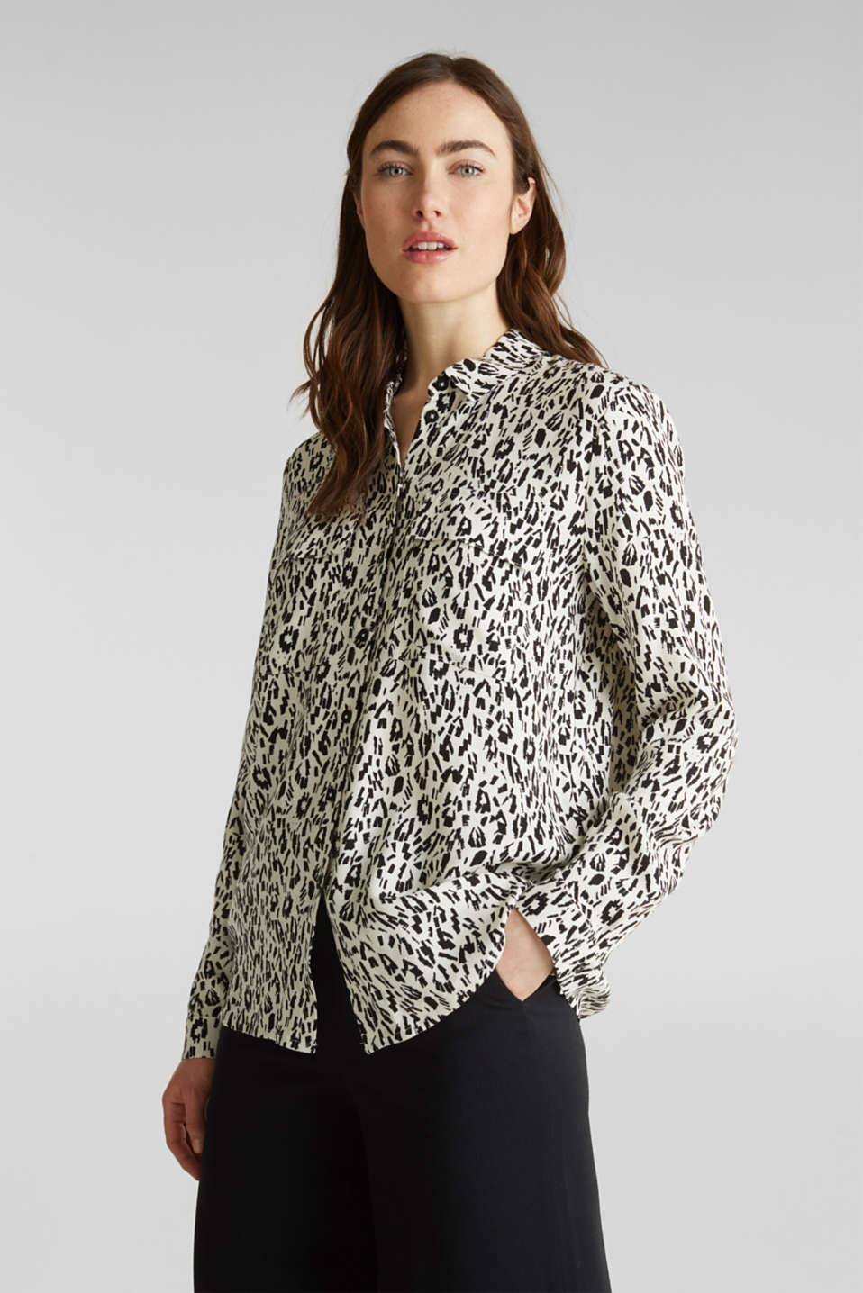 Esprit - Print blouse with flap pockets