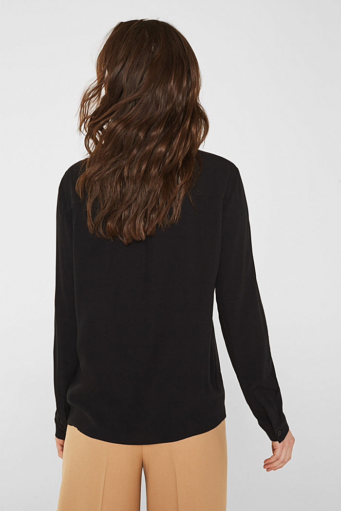 Shirt blouse made of fine crêpe, BLACK, detail image number 3