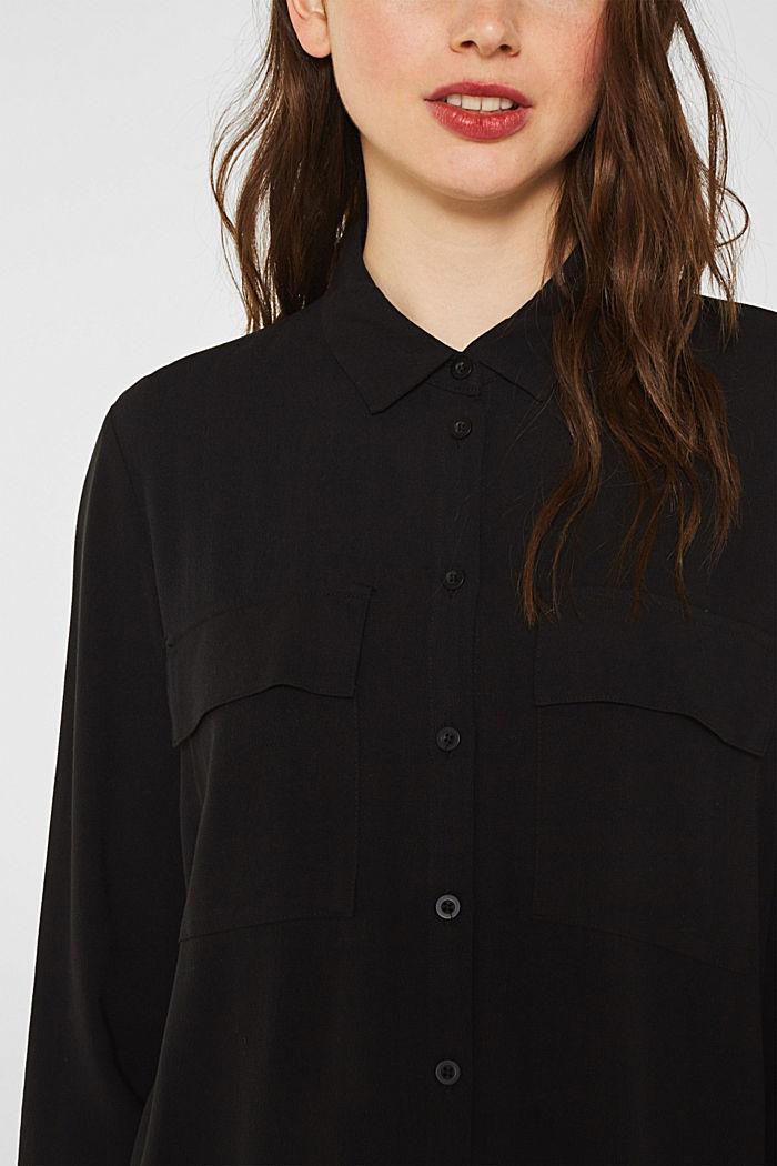 Shirt blouse made of fine crêpe, BLACK, detail image number 2
