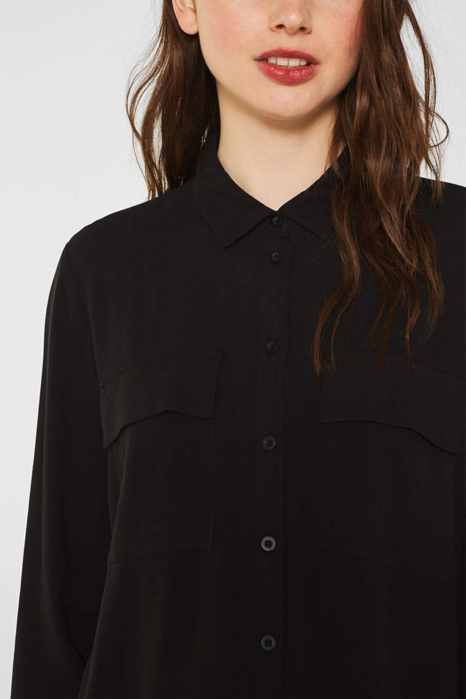 Shirt blouse made of fine crêpe, BLACK, detail image number 2