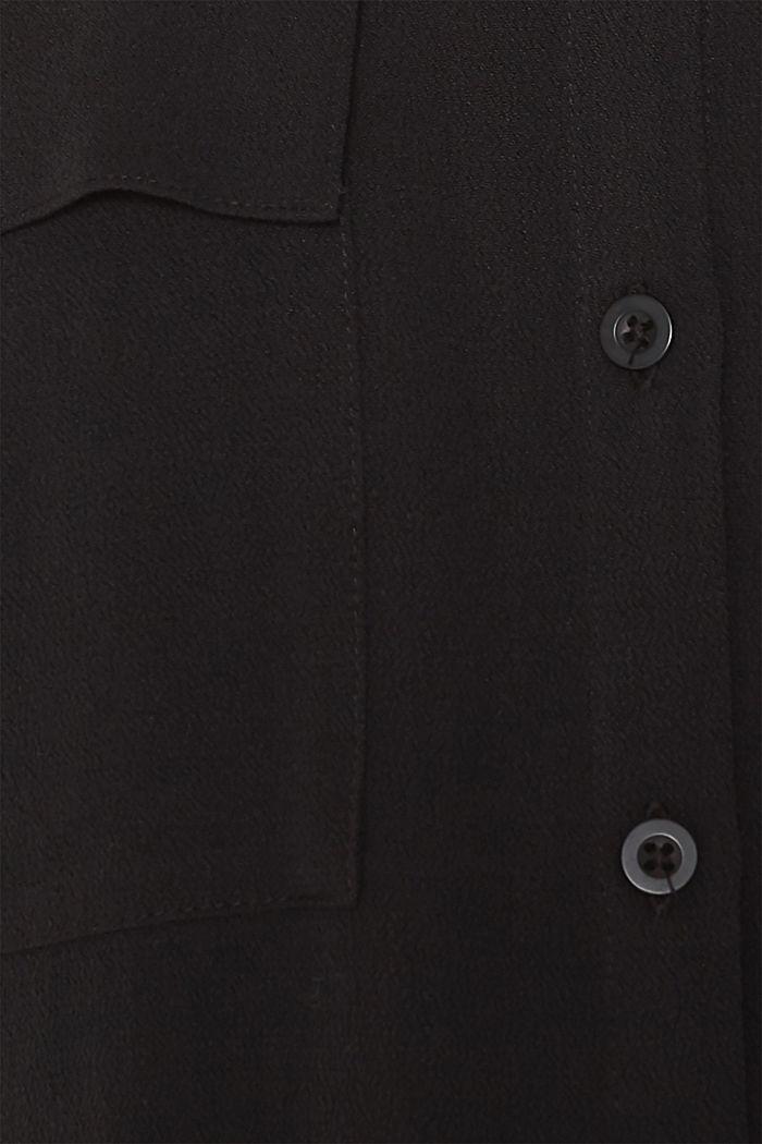 Shirt blouse made of fine crêpe, BLACK, detail image number 4