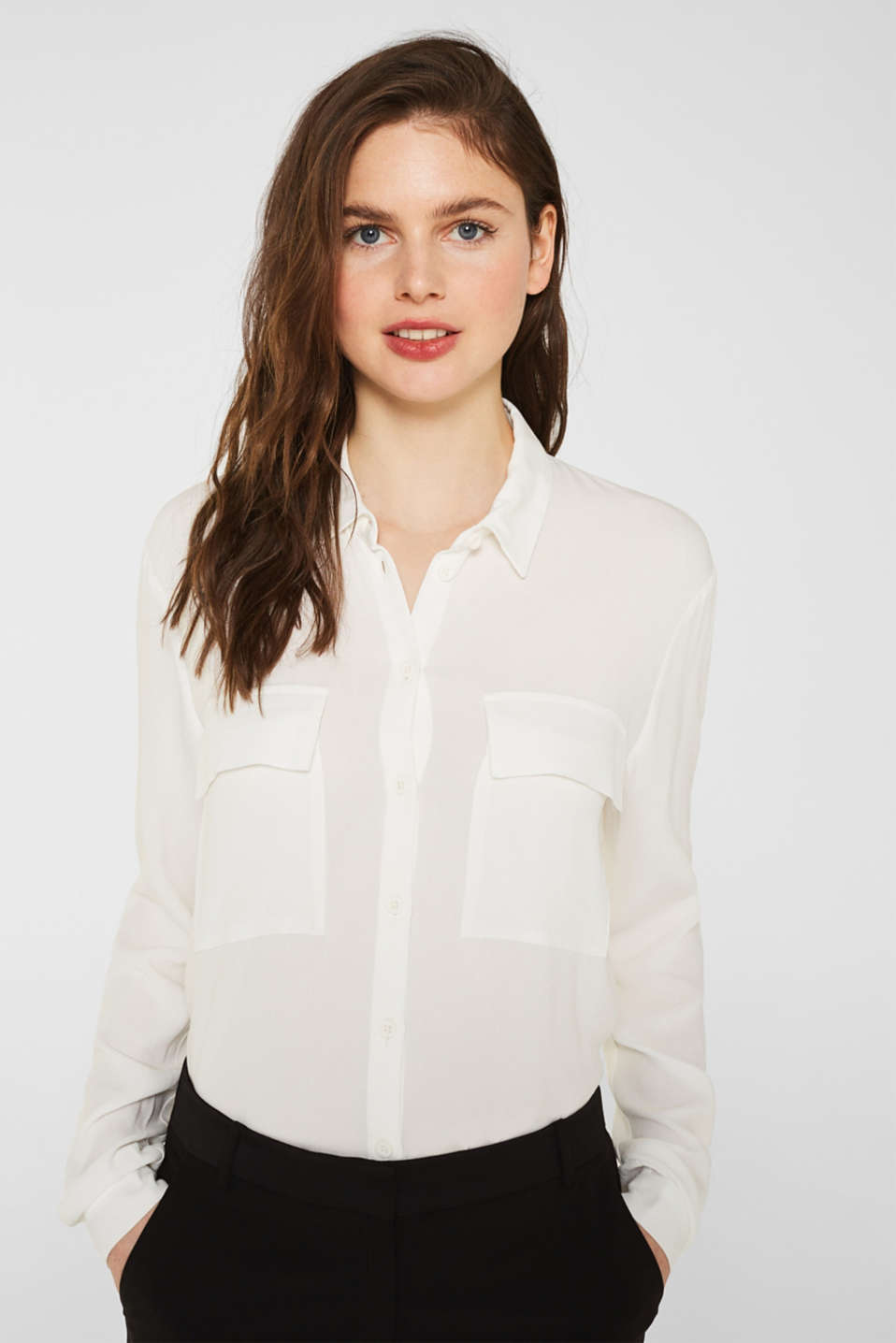 Shirt blouse made of fine crêpe, OFF WHITE, detail image number 0
